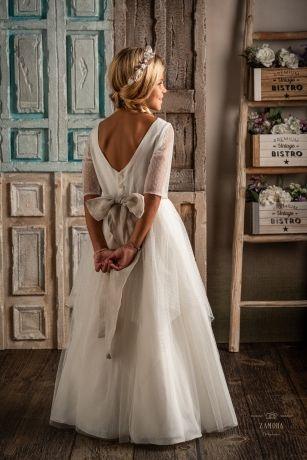 Vestido Enma 3/4 de tul plumeti. Detalle de espalda.Precio 295€