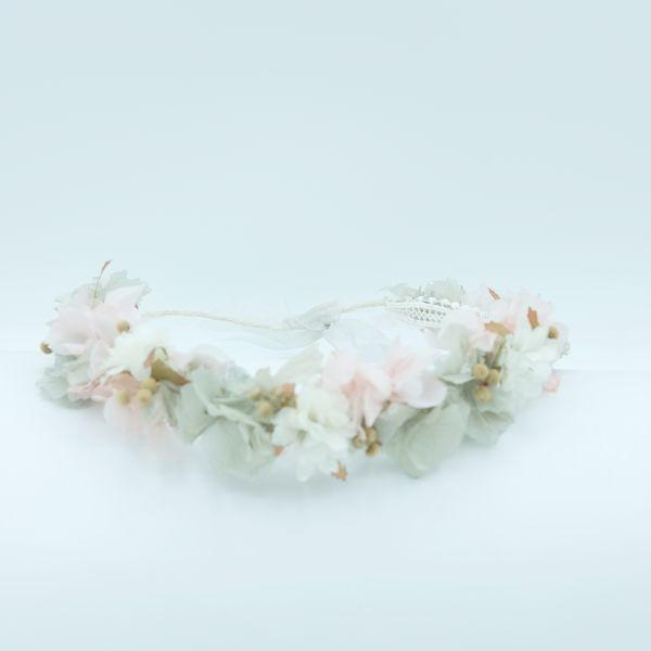 Corona de flores comunión rosa aliana barcelona